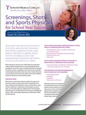 Screening Shots Sports Physicals Brochure Thumbnail